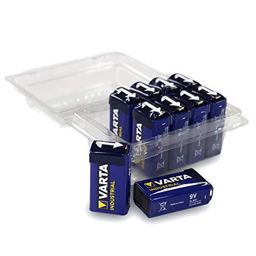 10 Stück Varta Industrial Batterie 9V Block Alkaline Batterien 6LR61 in Wiederverschließbarer Box von Weiss - More Power +