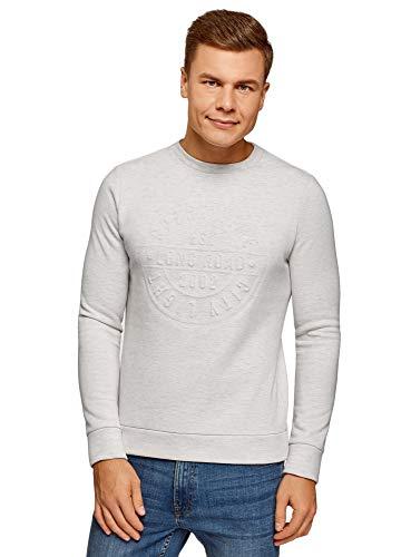 oodji Ultra Hombre Jersey con Estampado Texturizado, Blanco, ES 52-54 / L