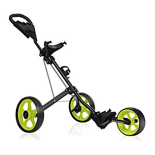 Golftrolley Golfwagen Golf Push Cart, Golfwagen for Golftasche, Golfgepäckwagen 3-Rad-Folding, Herren Damen Golf Cart Zubehör und necessitie, leicht zu öffnen