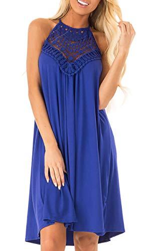ECOWISH Womens Halter Neck Lace Patchwork Backless Loose Tunic Tank Dress Sleeveless Casual Top Dresses Blue Small