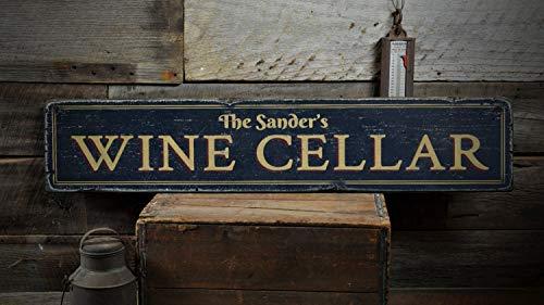 Cartel de madera para bodega de vino, personalizable para amantes del vino, decoración de bar, estilo rústico, hecho a mano, decoración de vino, 10 x 35 cm