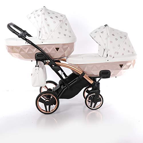 Junama Glow Duo Slim Stroller Twin Stroller Poussette pour frères et s?urs par Lux4kids Rose Gold 01 3en1 avec siège bébé