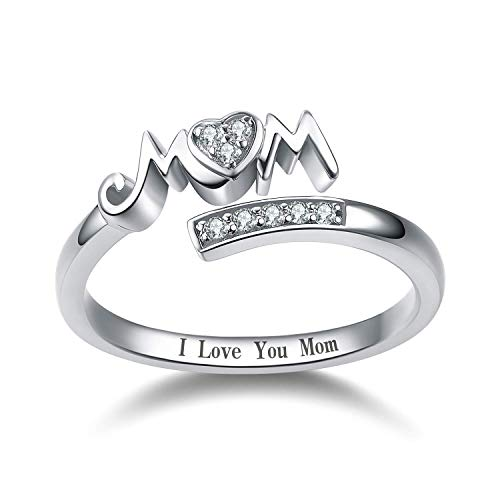 Jude Jewelers Rhodium Plated Moms Ring Mothers Day Birthday Gift