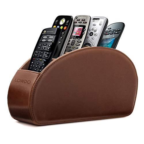 Londo Fernbedienungshalter mit 5 Taschen - Platz für DVD, Blu-Ray, TV, Roku oder Apple TV Fernbedienungen - PU-Leder mit Wildlederfutter - Schlank & Kompakt für die Aufbewahrung (Dunkelbraun)