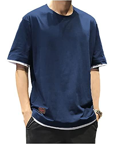 [chunatch] 半袖 ラウンドネック 重ね着風 tシャツ tops カットソー 春 夏 無地 速乾 紺色 サマー 薄手 部屋着 ルームウェア カジュアル シャツ おしゃれ アウトドア オシャレ お兄系 カッコイイ かっこいい 夏用 ラフ ヒップホップ ユル 緩 2層 高校生 大学生 社会人 サラリーマン パパ 父親 在宅ワーク用 重ね着風tシャツ ネイビー CHA54-NAL