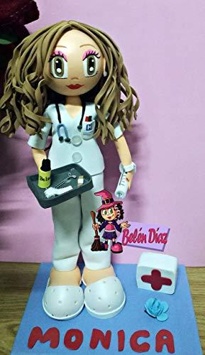 Fofucha Enfermera o Doctora personalizada uniforme blanco