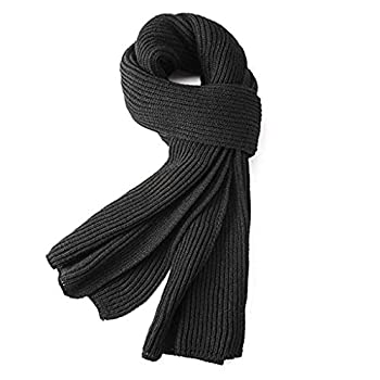 Warm Autumn and Winter Scarf,EONPOW Unisex Pure Color Winter Neck Warm Knitting Yarn Scarf  BLACK