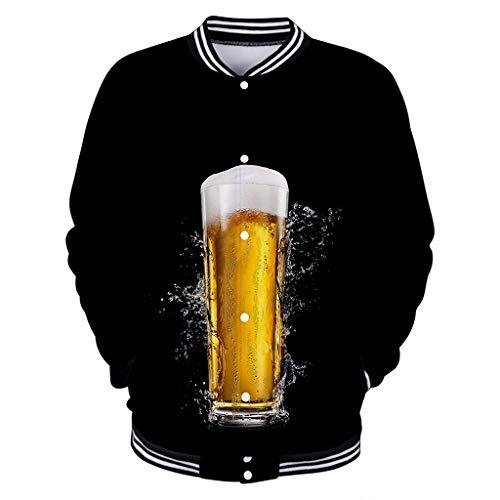 Xmiral Herren Bier Festival Outwear Mantel 3D Drucken Sport Shirt Druckknopf Baseballuniform Wanderjacke(Schwarz 1,XL)