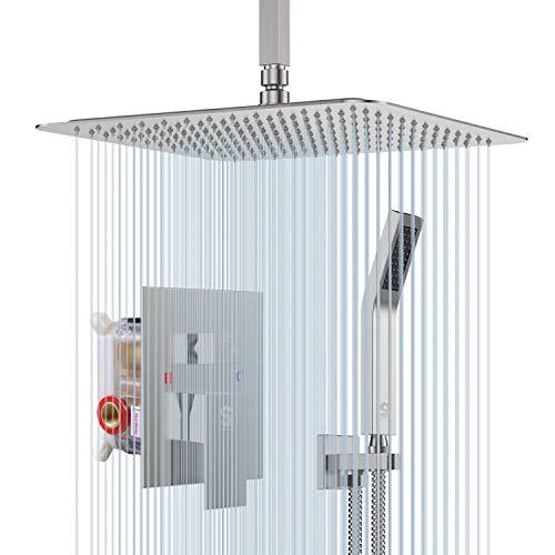 Cabezal de ducha de latón de 10 pulgadas montado en el techo sistema de ducha de níquel cepillado baño lujo lluvia mezclador conjunto conjunto techo instalación lluvia ducha sistema