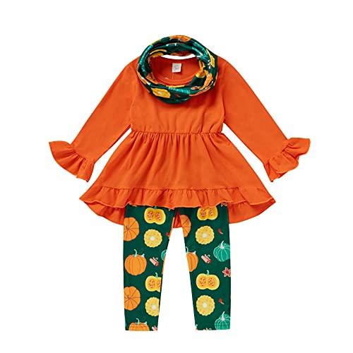 YWLINK Conjunto De Halloween para NiñA 3 Piezas Camiseta con Mangas Largas Top De Manga Acampanada De Color Liso + Estampado De Calabaza Pantalones con Cintura EláStica + Diadema