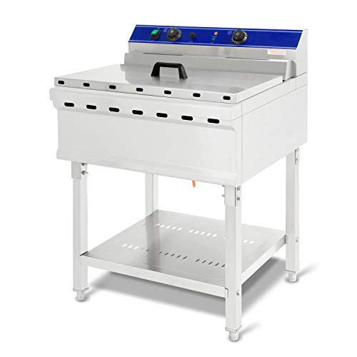 vertes Fritteuse 52L (7500 Watt, Temperatur regelbar bis 200°C, elektrisch 400V, 45 Liter Öl Kapazität, Kaltzonen-Prinzip, Frittier Korb, Ablassventil, Reset Funktion, Edelstahl, Gastronomie)