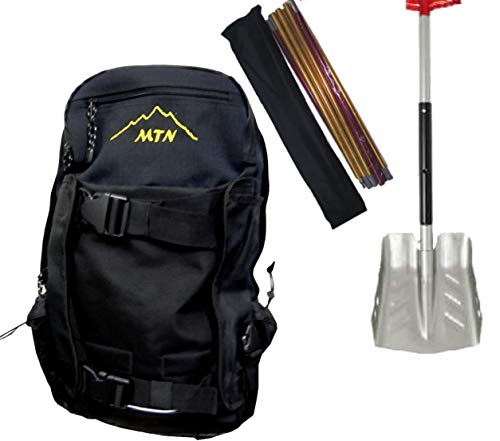 Snowmobile Backpack kit with Shovel and Probe by MTN - Black Backpack with Yellow Embriodered MTN Logo- Snow Safety Probe and Telescoping Shovel with Silver Blade