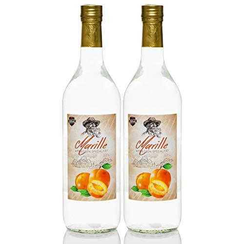 Marillen-Schnaps 1,0 Liter, 2 Flaschen Aprikose/Aprikosenschnaps Marille/Marillenschnaps von Kultbrand aus Nürnberg, Sensationelle Qualität, Direkt vom Hersteller,