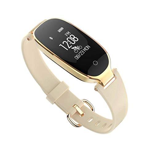 XIYAN Outdoor-Frauen-Sport-Uhr, IP67 wasserdichtes Blut Dynamische Herzfrequenz-Schlaf-Monitor, Bluetooth-Sport-Uhr, Geeignet für Smartphones,Gold