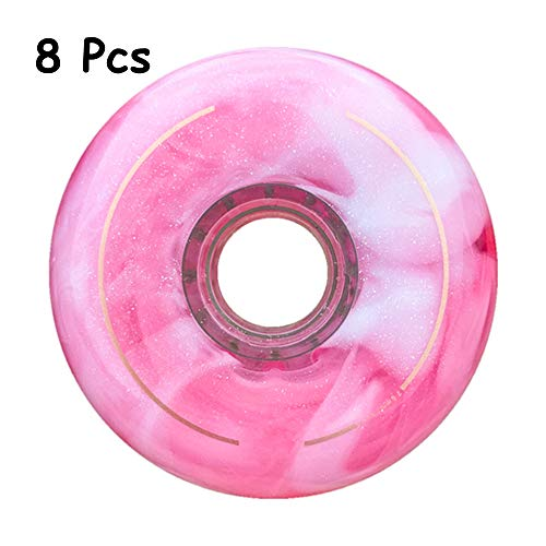8Pcs Inline-Skate-Räder, 72MM / 76MM / 80MM 86A, Ersatz-Rollschuh Inline Skaterad, Für Rollhockey Slalom Freestyle Skates Casterboard Waveboard,Rosa,80mm