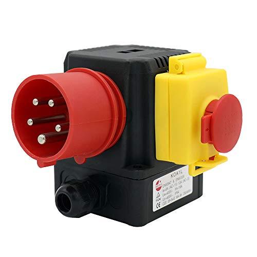 KEDU KOA1L Elektromagnetischer Schalteres Notaus-knopf Schalter 3P + E + N Europäischem Stecker Industrieanschlussschalter Mit Stromausfall Und Unterspannungsschutz 400V 8/12A CE TUV