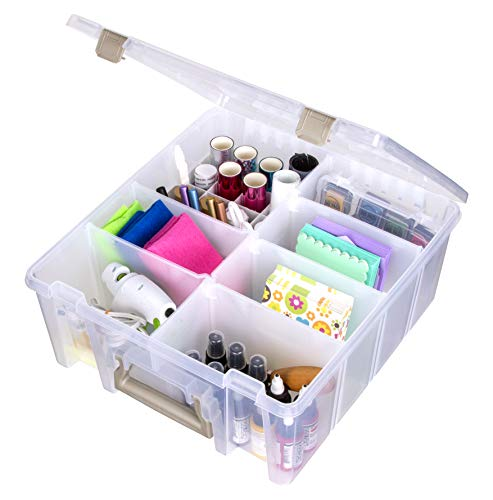 ArtBin 6993SP Super Satchel Double Deep with Papercrafting Accessory Tray, Clear, 1
