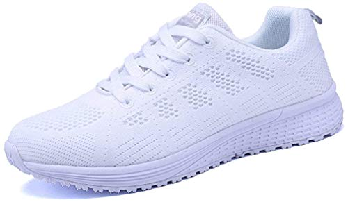 Zapatillas de Deportivos de Running para Mujer Gimnasia Ligero Sneakers Negro Azul Gris Blanco 35-40 Blanco 39