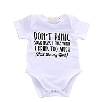 Bebogo Baby Boys Girls Romper Summer Clothes Kids Jumpsuit Playwear Don t Panic Letter Printed Infant Aunt Onesies Outfits Gift White 9-12 Months