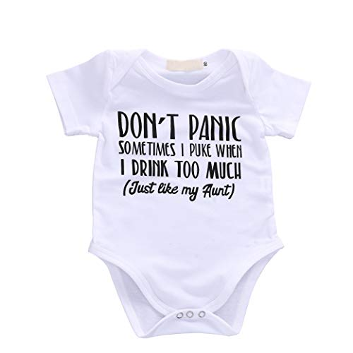 Baby Boys Girls Romper Summer Clothes Kids Jumpsuit Playwear Don't Panic Letter Printed Infant Aunt Onesies Outfits Gift White,70/3-6M