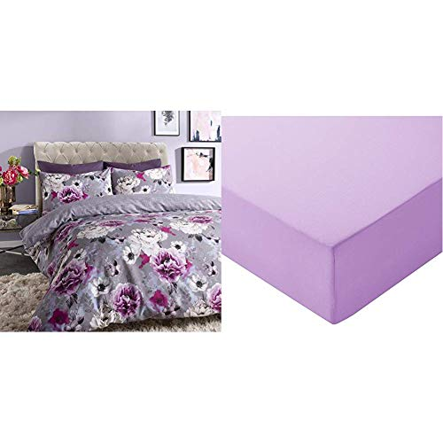 Sleepdown Inky Floral Grey Reversible Duvet Cover and Pillowcases Bedding Set (Double) & AmazonBasics Microfibre Fitted Sheet, Double, Lavender