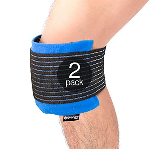 Gelpacksdirect - Premium Kompressions-Kniemanschette - mit Warm- & Kalt-Kompresse für Knieverletzungen - 2er-Pack