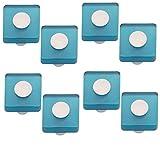 POMOLINE 8 Un. Tirador Pomo Mueble Infantil Resina Azul Cuadrado Cromo Mate 30x30X26MM