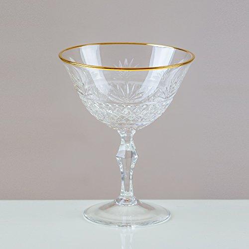 Victoria Cristal 6 Doré cerclé Rhipidure Champagne Coupe/soucoupe 24% Cut Cristal au plomb 100% fait à la main.