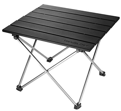 Small Folding Camping Table Portable Beach Table - Collapsible Foldable Picnic Table in a Bag - Mini Aluminum Side Table Lightweight Camp Tables for Outdoor Cooking, Backpacking, RV Fold, Travel