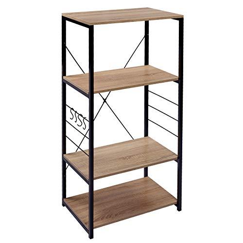 WOLTU RGB9365hei Küchenregal Standregal Mikrowellenhalter Bäcker Regal Metallregal aus Holz und Stahl, mit 4 Ablagen, ca. 60 x 40 x 123,5 cm, Hell Eiche + Schwarz