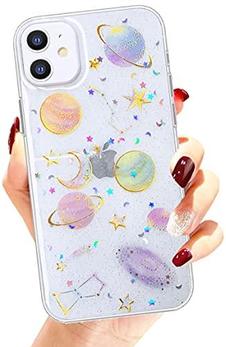 Efitoo Carcasa para iPhone 11 (6.1 pulgadas), diseño floral, suave, transparente, flexible, de goma, estrellas, espacial, luna, planeta, brillante, contraportada (estrellas)