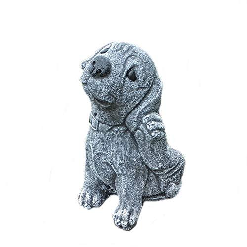 Hund Labrador Welpe Tierfigur Steinfigur Frostfest massiver Steinguss