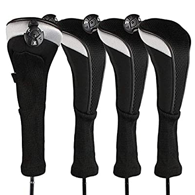 FINGER TEN Golf Club Head Covers Woods Hybrids Value 3/4 Pack, Headcovers Men Women 3 5 7 X with Interchangeable Number Tag, Fit All Hybrid Clubs (Black-3 Pack Hybrid Cover)