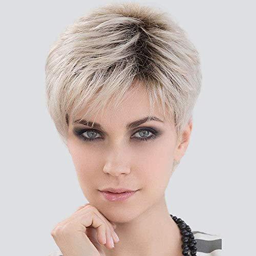 Ayhvia Vrouwelijke Pruik Met Kort Steil Haar Pruiken Van Echt Haar Voor Vrouwen Blonde Pruiken Met Zwarte Wortelpruiken