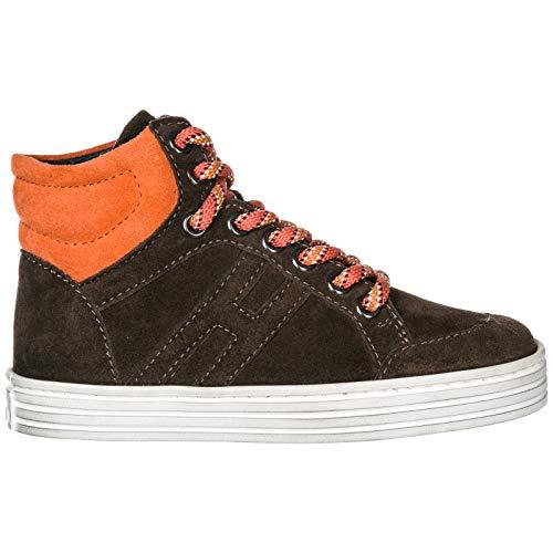 Hogan Rebel Scarpe Sneakers Bimbo Bambino LTE camoscio Nuove r141 Basket marrón