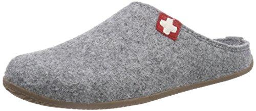 Living Kitzbühel Unisex-Erwachsene Pantoffel Schweizer Kreuz mit Fußbett Pantoffeln,Grau (610 grau), 38 EU