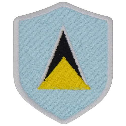 FanShirts4u Aufnäher - Saint Lucia - Wappen - 7 x 5,6cm - Bestickt Flagge Patch Badge Fahne (Weiße Umrandung)