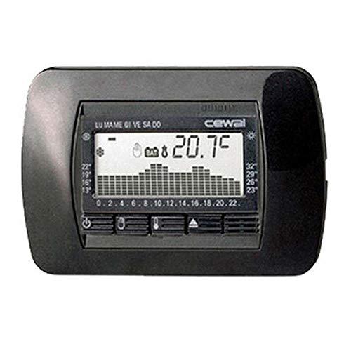 CEWAL termostato 3 empotrada negro módulos