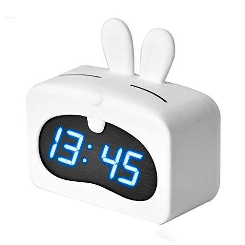 Water cup Modern Table Lamp Table Clock Smart Led Alarm Clock Lcd Screen Sensor Clock Voice Alarm Clock Cute Animal Table Lamp Baby Child, Bedroom Pink White Grandfather Clock Clocks (Color : White)