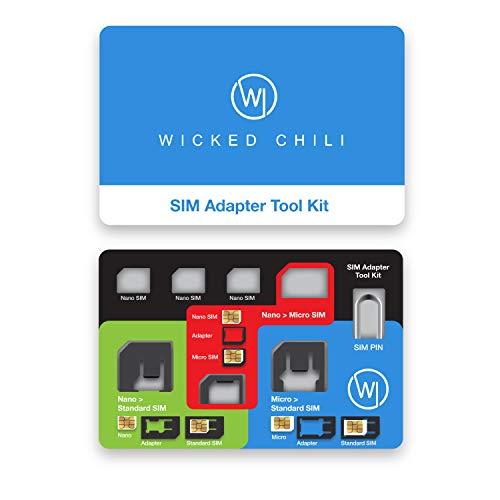 Wicked Chili 8in1 Multi Adaptador SIM de Viaje con Sim Pin Eject Pin y Estuche para Tarjetas SIM, Set Completo de adaptadores y Funda de Viaje para SIM del tamaño de una Tarjeta de crédito