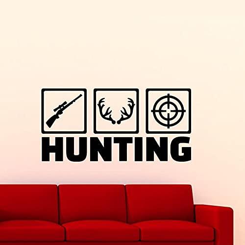 Pegatina de pared de caza para el dormitorio del hombre de la caza de ciervos, con logotipo de cazador de objetivo, vinilo para pared, decoración de cuevas de hombre, póster de pared de 85 x 42 cm
