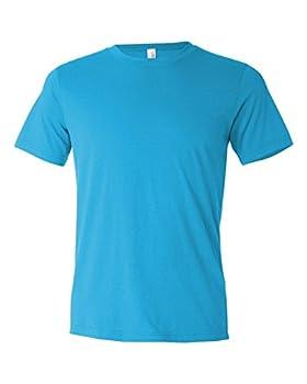 Canvas mens Unisex Poly-Cotton Short-Sleeve T-Shirt 3650 -TURQUOISE-M