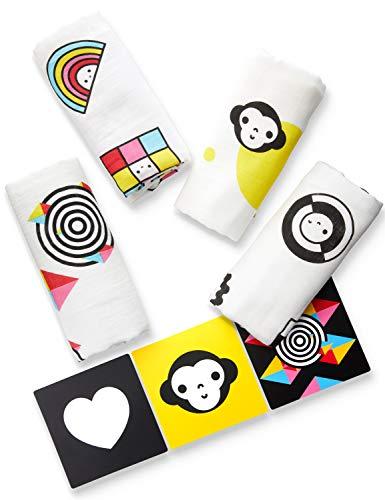 Mullwindeln Spucktücher Superweich (4er Set + 3 Karten) Fördern Ihr Baby kognitiv und sensorisch - Mulltücher Stoffwindeln Baumwolle (80x80 cm) von ProperPeak, Bambus Mädchen Junge Spucktuch Mulltuch