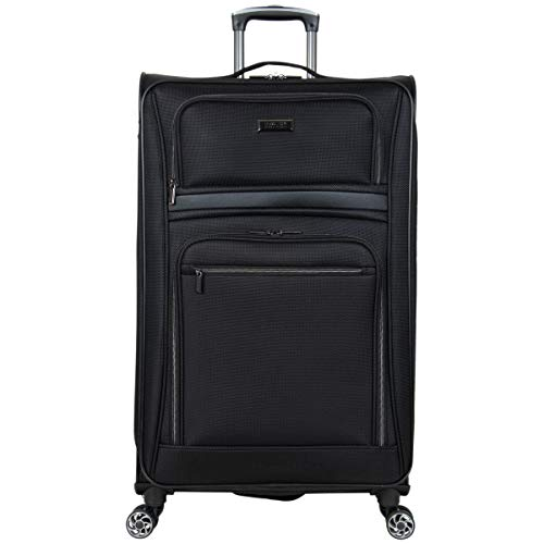 Kenneth Cole Reaction Rugged Roamer 28' Lightweight Softside Expandable 8-Wheel Spinner Checked Travel Luggage, Black, inch