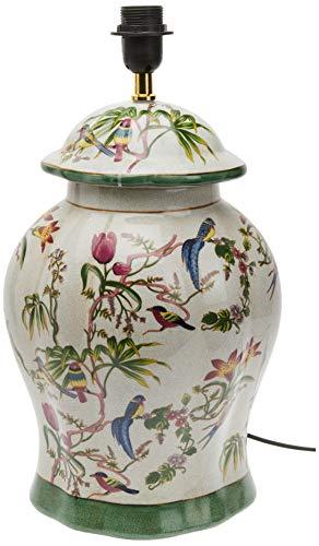 Better & Best 1395440 – lampe de table Tibor ronde en céramique avec décoration oiseaux et fleurs