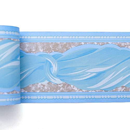 Livelynine Bordi Adesivi per Pareti Blu Greca Adesiva per Parete Bagno Bordi per Carta da Parati Azzurro Bordo Adesivo per Pareti in PVC Bambini Cucina Impermeabile Lavabile Autoadesiva 10CM X 10M