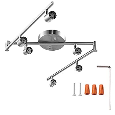 6-Light Adjustable LED Dimmable Track Lighting Kit by AIBOO,Flexible Foldable Arms,Satin Nickel Kitchen,Hallyway Bed Room Lighting Fixture, GU10 Base Bulbs not Included