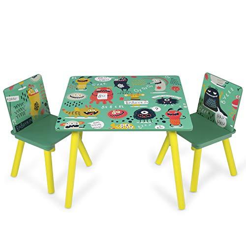 Homestyle4u 1855, Kindersitzgruppe Holz, Kindertisch mit Stühle, Grün Gelb