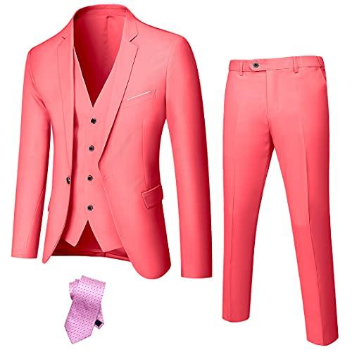 YND Herren Slim Fit 3-teiliger Anzug, Ein-Knopf-Jacke, Weste, Hose, Set mit Krawatte - Pink - S