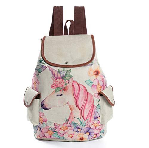 Bolsa la Escuela Mochila Casual con 3D Unicornio Rayado de Impresión para Mujer Niñas Causel Daypack (A)